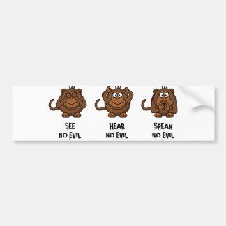 Three Wise Monkeys Bumper Sticker