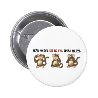 Three Wise Monkeys Buttons