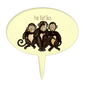 Three Wise Monkeys Cake Topper