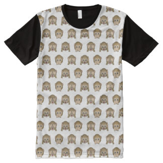 Three Wise Monkeys Emoji All-Over-Print T-Shirt