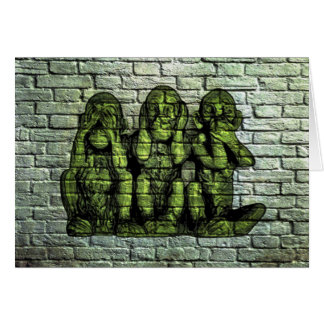Three Wise Monkeys Graffiti Greeting Card