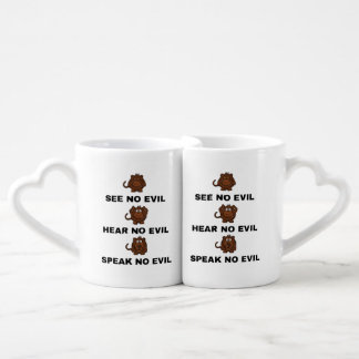 Three Wise Monkeys Interlocking Lover's Mug / Cup Couples' Coffee Mug Set