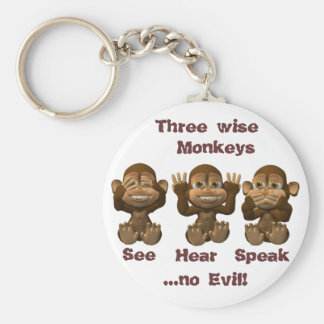 three wise monkeys keychain