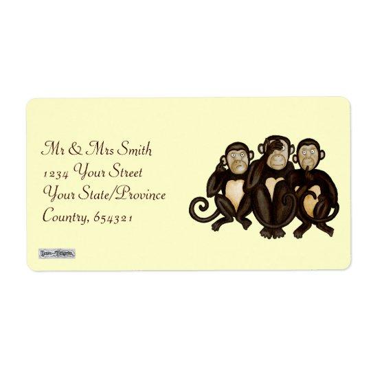 Three Wise Monkeys Label