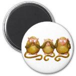 Three wise monkeys magnets