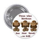three wise monkeys pinback button
