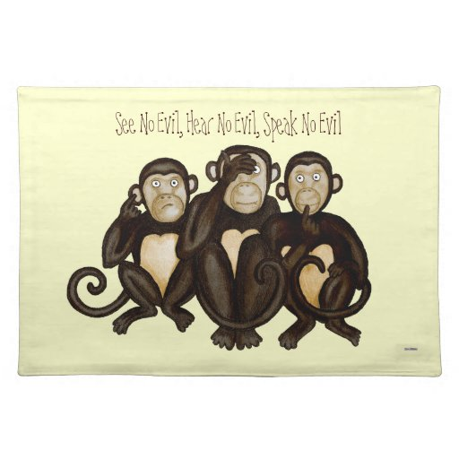 Three Wise Monkeys Placemats