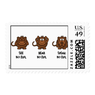 Three Wise Monkeys Postage