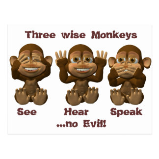three wise monkeys postcard