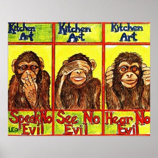 Three Wise Monkeys Print