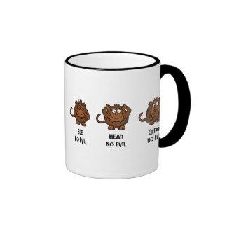 Three Wise Monkeys Ringer Mug