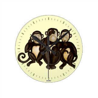 Three Wise Monkeys Round Clock