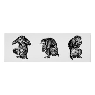 Three Wise Monkeys See, Hear, and Speak no Evil Poster
