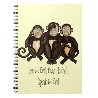 Three Wise Monkeys Spiral Notebook