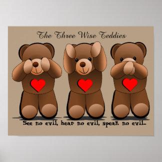 Three Wise Monkeys, Teddy Bear Print
