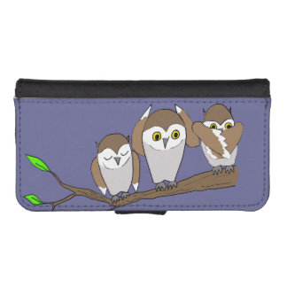 three wise owls phone wallet case