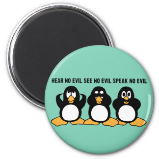Three Wise Penguins Design Graphic 2 Inch Round Magnet