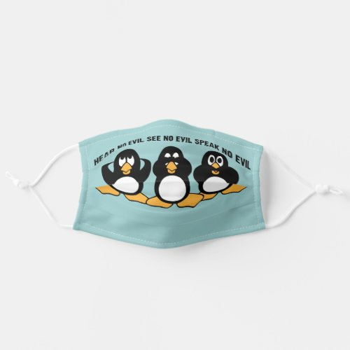 Three Wise Penguins Design Graphic  Blue Cloth Face Mask