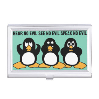 Three Wise Penguins Design Graphic Business Card Case