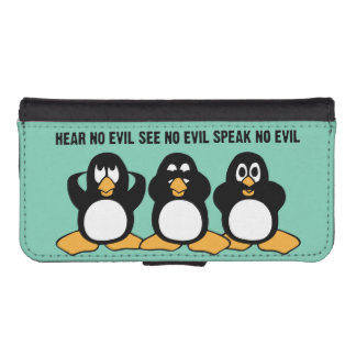 Three Wise Penguins Design Graphic iPhone SE/5/5s Wallet