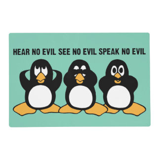 Three Wise Penguins Design Graphic Laminated Place Mat