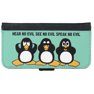 Three Wise Penguins Design Graphic Wallet Phone Case For iPhone 6/6s