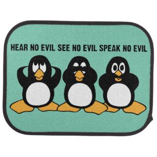 Three Wise Penguins Design Graphic Car Mat