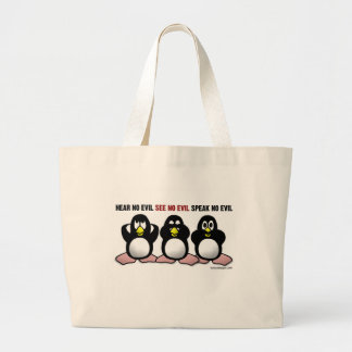 Three Wise Penguins Large Tote Bag