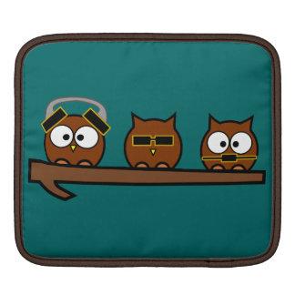 Three Wise Quirky Owls iPad Sleeves