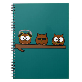 Three Wise Quirky Owls Notebook