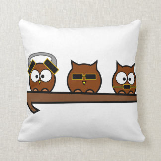 Three Wise Quirky Owls Throw Pillow