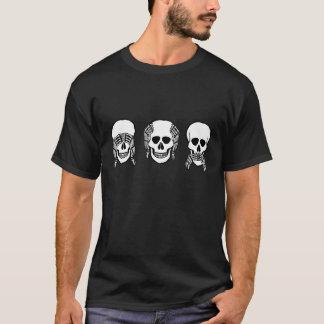 Three wise skulls, see, hear, speak no evil T-Shirt