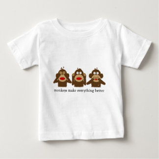 Three Wise Sock Monkeys Baby T-Shirt