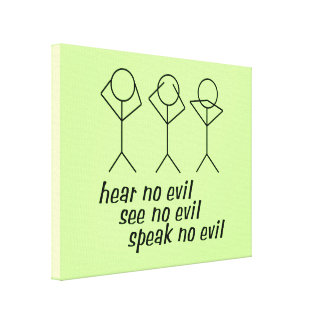 Three Wise Stick Figures - green background Gallery Wrap Canvas