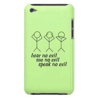 Three Wise Stick Figures - green background Barely There iPod Case