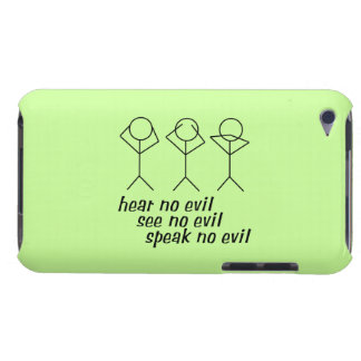 Three Wise Stick Figures - green background iPod Touch Case