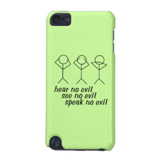 Three Wise Stick Figures - green background iPod Touch 5G Cases