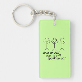 Three Wise Stick Figures - green background Keychain