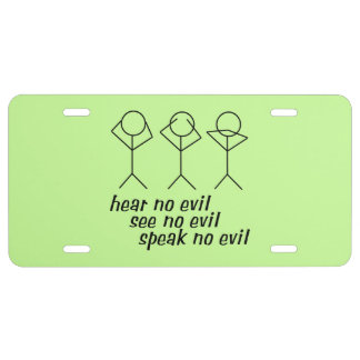 Three Wise Stick Figures - green background License Plate