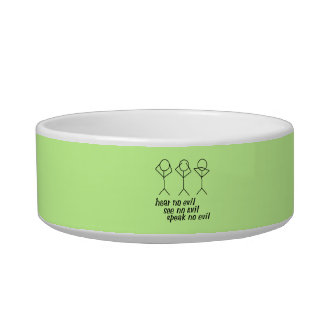 Three Wise Stick Figures - green background Pet Bowls