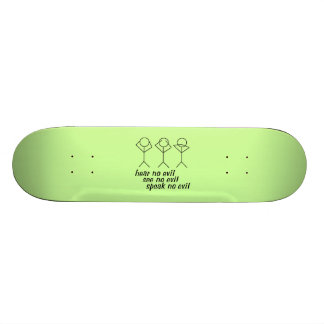 Three Wise Stick Figures - green background Skateboard Deck