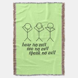 Three Wise Stick Figures - green background Throw Blanket