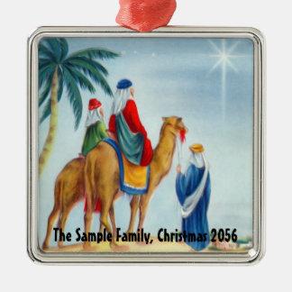 Three Wisemen on Camels, Light Blue Metal Ornament