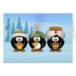 Three Wisemen Penguins Christmas Card