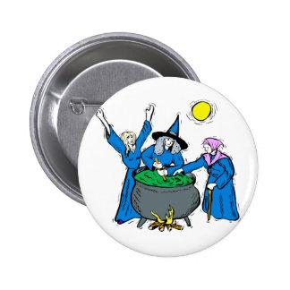 three witches blue clothes cauldron moon pin