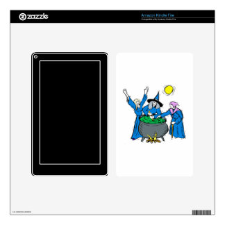 three witches blue clothes cauldron moon skins for kindle fire