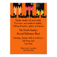 Three Witches costume feet bright orange Halloween Party Invitation