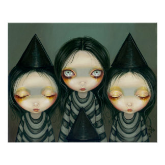 Three Witchy Sisters lowbrow gothic Art Print
