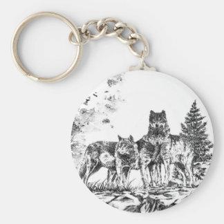 Three Wolf Illustration Key Chain