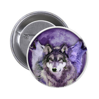 Three Wolves Pinback Button